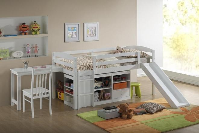 Детская кровать-чердак с горкой и системой хранения