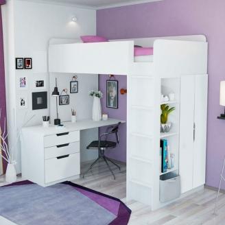 Кровать-чердак с рабочим местом, полками и шкафом